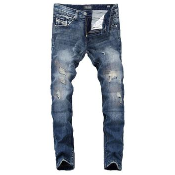 Summer DSEL Brand Mens Jeans Blue Color Elastic Stretch Denim Ripped Jeans For Men Casual Pencil Pants Patchwork Skinny Jeans