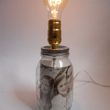 Mason Jar Lamp Screw-Top Fill With What You Desire Glass DIY Free USA Shipping