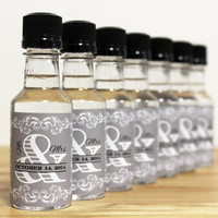 Custom Mini Bottle Liquor Labels and Empty 50 mL Bottles Mr & Mrs Alcohol Party Wedding Date Favors Thank You Reception Guest Gifts EB-1012