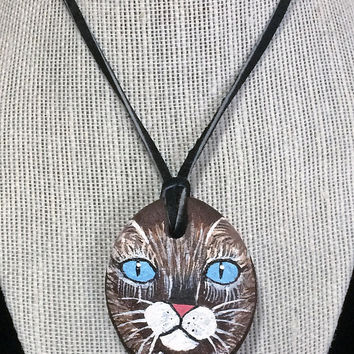 Cat Face Stone Pendant Necklace Hand Painted Artisan Made Leather Thong Cord Figural Tabby Feline Jewelry 518