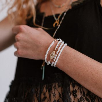 Rowen Long Beaded Wrap Bracelet - White
