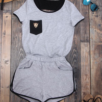Trendy Lace Splice Sportsuit Outfit