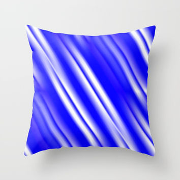 Broken White Lines w/Blue Throw Pillow by 11penguingirl
