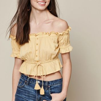 LA Hearts Short Sleeve Tie Waist Off-The-Shoulder Top at PacSun.com