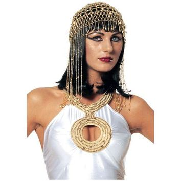 Egyptian Beaded Gold Headpiece Costume Accessory Adult Women Cleopatra Halloween