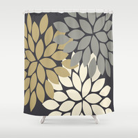 Bold Colorful Gold Ivory Charcoal Grey Dahlia Flower Burst Petals Shower Curtain by TRM Design