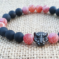 CYBER MONDAY Men's Bracelet, Gunmetal Zirconia Pave Leopard Bling Cool Men Bracelet Red  Agate Black Matte Onyx Mens Fashion Modern Bracelet