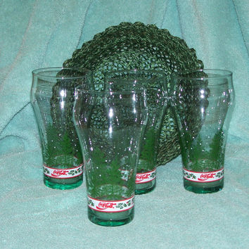 Vintage Coca Cola Christmas Glasses (4) W/Pine Green Holiday Basket 1991 Libbey/Retro/Historical/Traditional/Modern/Gift/Collector/Christmas