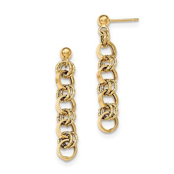 14K Yellow Gold Polished Diamond-cut Post Dangle Earrings