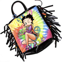 Betty Boop Hippie Chick Peace Sign Fringe Tote Bag