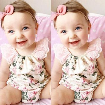 Floral Cotton Flower Vintage Overalls Girl Newborn Clothing Bodysuit Lace Summer Female Beach Suit Girl Clothes Summer