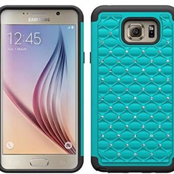 Galaxy Note 5 Case, Crystal Rhinestone Studded Hybrid Dual Layer Shock Absorbent Case for Samsung Galaxy Note 5 - Teal/Black
