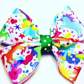 Unicorn Ribbon Hair Bow-Hair Bow-Rainbow Hair Bow-Toddler Hair Bow