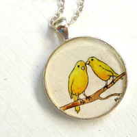Hand Painted Necklace Original Miniature Art by tuckooandmoocow