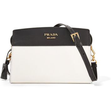 Prada - Esplanade small two-tone leather shoulder bag
