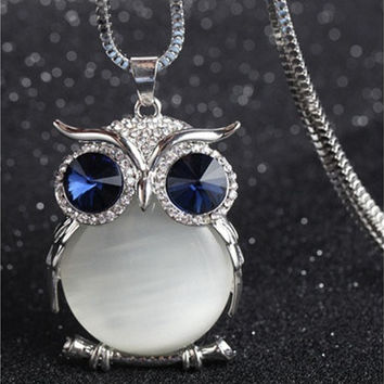 Womens Cute Crystal Owl Pendant Sweater Long Chain Necklaces [8833451724]