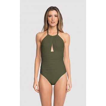 Green Moss Ruched Halter Lycra One-Piece Swimsuit