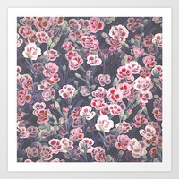 Carnations Pattern Art Print by Octavia Soldani