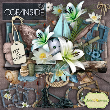 Oceanside Vol 2 - Digital Scrapbook Kit and  FREE QuickPage