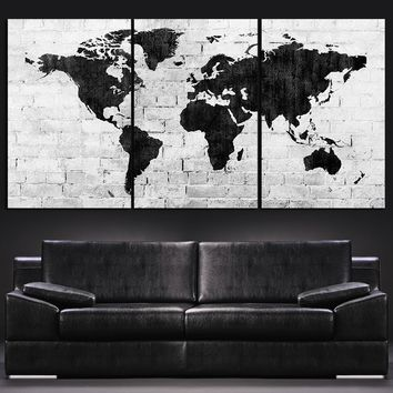 Large Wall Art World Map Canvas Print - Contemporary 3 Panel Triptych Black and White Large Wall Art MC10