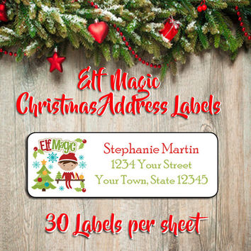 CHRISTMAS ELF MAGIC Address Labels, Family Personalized Christmas Elf on a Shelf Return Address Labels