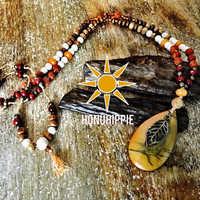 Rudraksha, Picasso Jasper, leaf necklace. Boho hippie jewelry