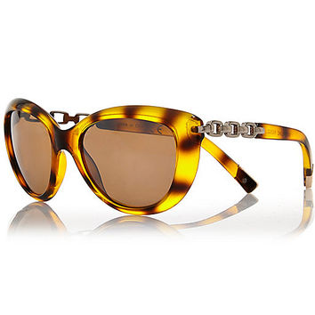 River Island Womens Brown tortoise chain arm cat eye sunglasses