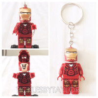 BOGO Buy 1 Get 1 Promo! Lego® IRONMAN of The Avengers Keychain, Lego Superhero Keychain, FREE Lego® Minifigure Keychain Party Favors Gift