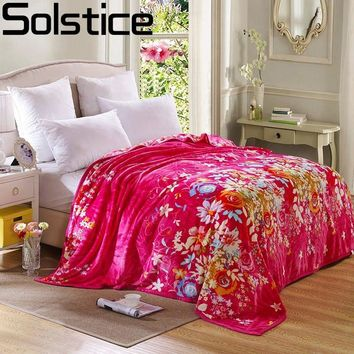 Solstlce Red Flower Style Super Soft Simple/Rose Style/Sheep House Thin Blanket Throw Blanket Plush Fleece Sofa Bed Decoration