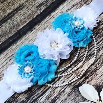 White and Blue Maternity Sash With Pearls
