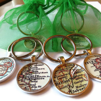 St. Patrick's Day Keychain, Irish, Ireland Map keychains for St. Patrick's Day, Personalized key chain