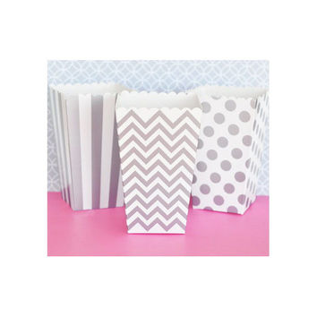 Popcorn Boxes - Silver Grey Chevron Polka Dot or Stripe for Candy Bar - Wedding Favors Party Favor