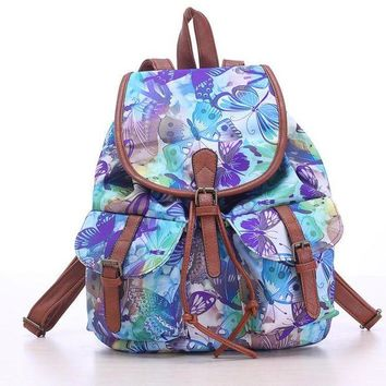 ONETOW Day-First? Blue Butterfly Travel Bag Canvas Lightweight College Backpack