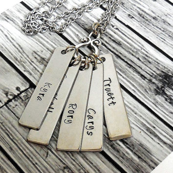 Hand Stamped Mothers Personalized Bar Necklace /Stainless Steel Keepsake Necklace / Mothers Name Charm Necklace / Grandmothers Necklace