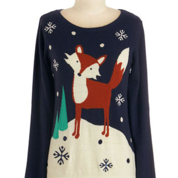 Yumi Critters Mid-length Long Sleeve Clever Whenever Sweater