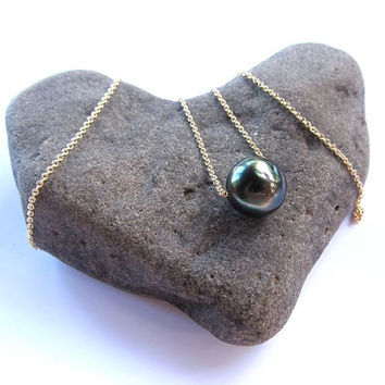 Tahitian Pearl Necklace, Gold, Floating, Long Necklace, Pearl Jewelry, Elegant, Gift for Her