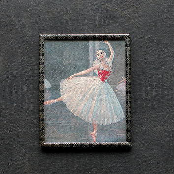 On Her Toes - Vintage Framed Ballerina Print - Dancer - Pink - Black - Metal Frame