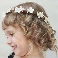 Ivory Blossom Flower Girl Crown -  Flower Hair Wreath, Flower Girl Headpiece, Floral Crown, Ivory, Flower Crown, Weddings, Child