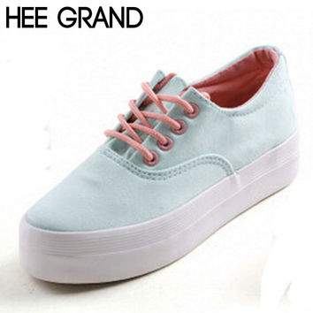 HEE GRAND Hot Thick Bottom Platform Non-slip Women Canvas Shoes Round Toe Mix Color Fashion Shoes For Women Drop Shipping 139