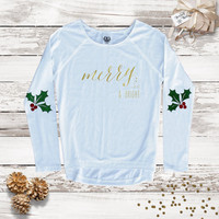 Women's Holiday Merry and Bright Tee - Holiday Elbow Patch