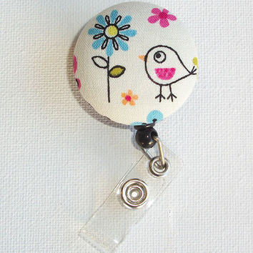 Retractable ID Badge Holder Reel  - Fabric Button - Cute Little Bird