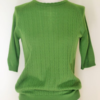 Vintage 1960s Green Pointelle Knit Sweater