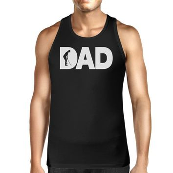 Dad Golf Mens Black Cotton Tank Top Funny Graphic Tee For Gold Dads