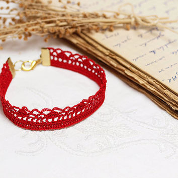 Crochet Bohemian Chic Bracelet Red Varnished Victorian Hippie Boho Gypsy Style Jewelry Circle Flower Lace