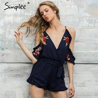 Simplee Flower print ruffle women jumpsuit romper Sexy v neck strap overalls 2017 Summer Vintage high waist playsuit