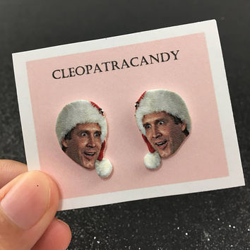 National Lampoon's Christmas Vacation - chevy chase earrings - clark griswold - face earrings - christmas earrings - stocking stuffer