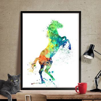 Horse Watercolor Print, Watercolor Painting, Animal Painting, Watercolor Art, Home Decor, Watercolor Animal, Horse Poster, Horse Print (160)