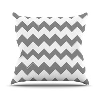 "KESS Original ""Candy Cane Gray"" Chevron Outdoor Throw Pillow"
