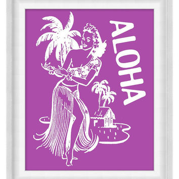 Printable Poster: Aloha - Hula Dancer Print - Vertical 8x10 - Digital Wall Art