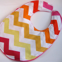 Chevron Bib, Minky Bib, Citrus Chevron, Modern Baby Girl, Triple Layer Bib